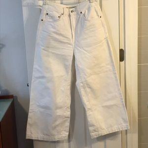 Top shop moto white wide leg